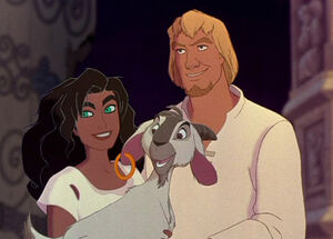 Phoebus, Esmeralda & Djali smiling after Quasi