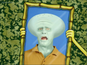Squidward not happy with handsome face