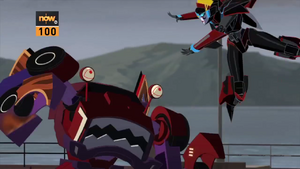 Windblade vs. Clampdown from Steeljaw's Pack.