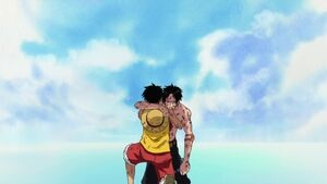 Luffy holds Ace