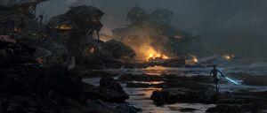 Rey runs to the caretaker village concept art