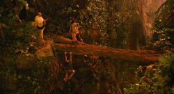 Ian Hawke convincing Zoe to save Dave from falling off a fallen log.jpg