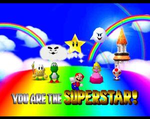 Mario party 64 mario peach yoshi koopa tropa boo Fwoosh and toad in Mario's Rainbow Castle