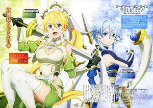 Yande.re 667152 aida asami armor cleavage leafa sinon skirt lift sword sword art online thighhighs weapon
