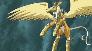 Pegasusmon, Takeru, Hikari and Gatomon