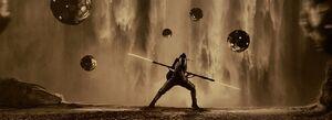 Rey trains with droids concept art
