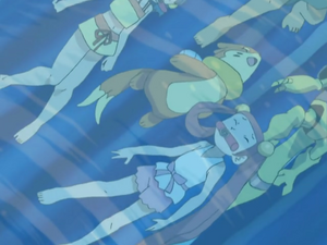 Mira and Buizel being attacked.