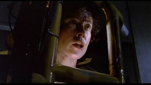 Ellen Ripley facing the Alien Queen