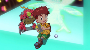 Tentomon and Koshiro look at image from his Digivice