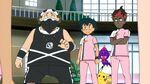 Ash, Kiawe, Pikachu and Poipole with Zipp