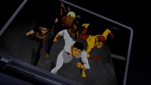 Superboy, Robin, Kid Flash and Aqualad