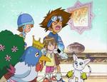 Taichi, Sora, Hikari, Deramon, and Tailmon