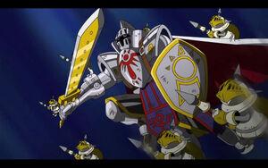Knightmon and PawnChessmon in battle