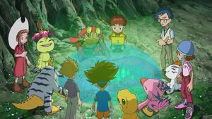 Koshiro shows map to DigiDestinds and Digimons