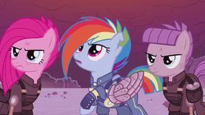 Pinkamena, Rainbow, and Maud in Sombra-ruled timeline S5E25