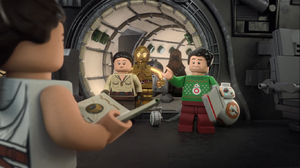 Rose, Poe, BB-8, Chewie, D-O, R2, and 3PO arrive - The LEGO Star Wars Holiday Special