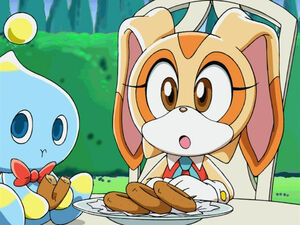Sonic X Cream the Rabbit AND CHESSE CHAO EATING2