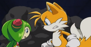 Tails is determined to protect Cosmo from Shadow