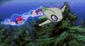 Celebi using psychic flying on Ash & Sam