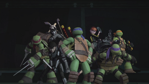 Turtles, April, Casey and Miwa Ready for Battle