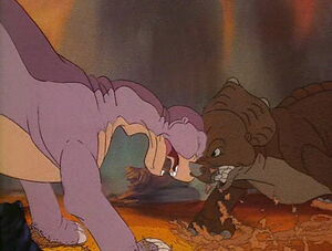Littlefoot and Cera fighting after she insults his mother