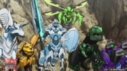 Many Bakugan in battle