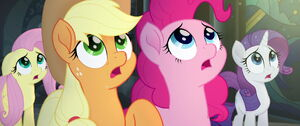 The ponies shocked seeing a light shine above them