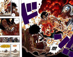 Ace saves Luffy from Akainu