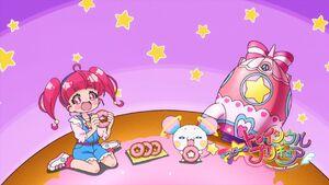 STPC Eyecatch Hikaru and Fuwa eat on donut
