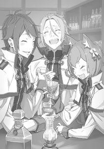 ReZero Ex Volume 4 Reinhard, Julius & Felix drinking Illustration