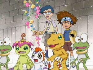 Taichi, Joe, Agumon, Gomamon and Palmon with Two Gekomon.