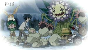 Joe, Takeru, Patamon, Blossomon and Junkmon (Flashback)