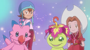 Biyomon, Sora, Palmon and Mimi