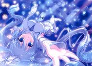 Blue eyes blue hair hatsune miku long hair mikeou pink chuchu scarf snow thighhighs tie twintails vocaloid winter yuki miku 3200x2300