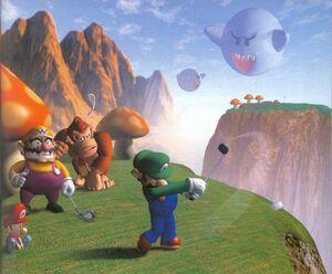 Luigi, Wario, Donkey Kong and Baby Mario at Boo Valley