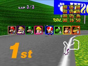 Mario Kart 64 lap results screen