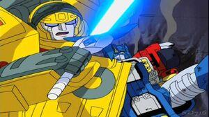 Optimus and Hot Shot (Swoop)