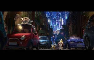 Captian Snowball, Daisy and Hu walks to the street