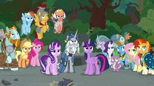 Mane Six, Starlight, Spike, and Pillars stand together S7E26