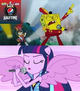 SpongeBob and Twilight Sparkle singing Sweet Victory together at the Super Bowl Halftime Show 2021