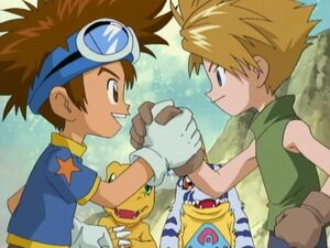Tai Kamiya and Matt ishida making up for what they did and work together in order to reunite with the Digidestined