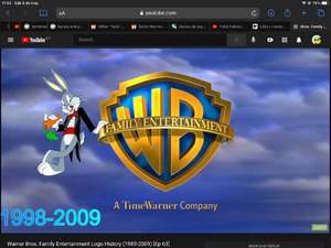Bugs Bunny eating his carrot in the Warner bros family entertainment logo