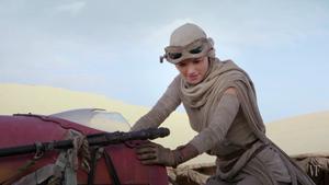 Rey on her landspeeder