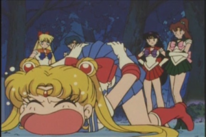 WHY DID YOU KICKED ME IN THE BUTT FOR, SAILOR MARS?!!!