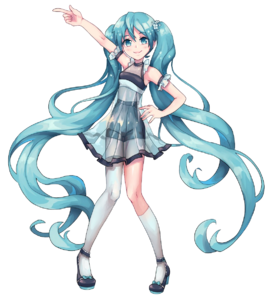 Miku in her Evergreen outfit