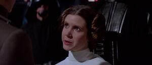 Princess Leia facing Grand Moff Tarkin