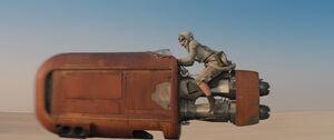 Rey driving her landspeeder