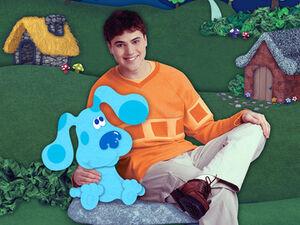 Blue sitting with Joe