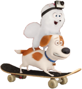 Max and Gidget (The Secret Life of Pets) playing Skate in GoPro commerical (Transparent)