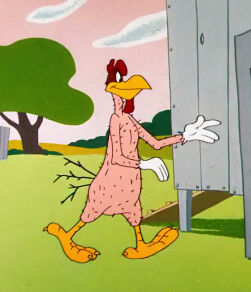 Foghorn Leghorn walking around naked